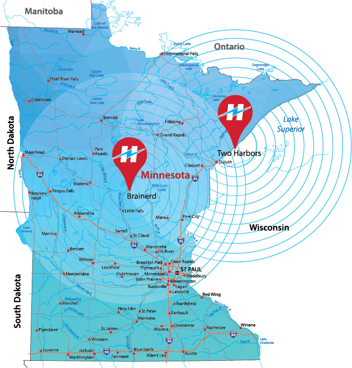 Holden Electric Co. services cities in Northeast and Central Minnesota, including Two Harbors, Duluth, Cloquet, Hibbing, Grand Rapids, Brainerd, St Cloud, St Paul, Minneapolis, Park Rapids, Bemidji, and Moorhead.