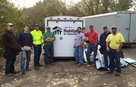 Lakes Area Habitat for Humanity Trailer with Workers